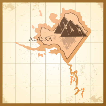 A map of Alaska state with a mountain.