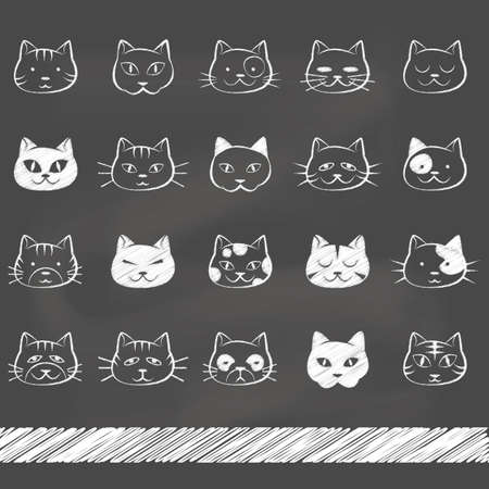 asleep: set of cat icons