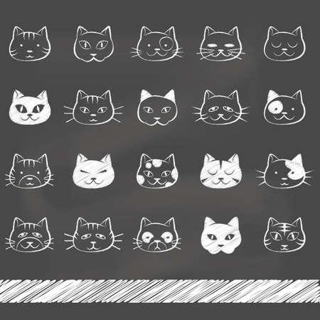 set van kat pictogrammen Stock Illustratie