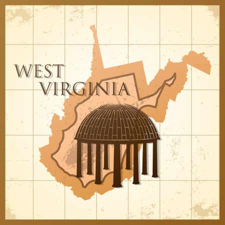 ウェスト バージニア州の地図。
