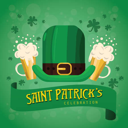 st patrick's day poster with leprechaun hat and beer Foto de archivo - 106670117