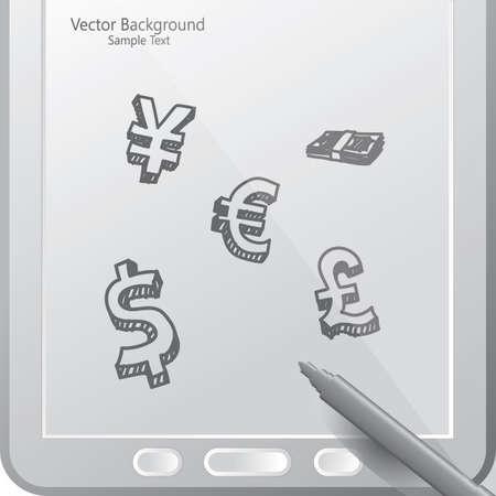Moneda en una tableta con lápiz Foto de archivo - 81536395