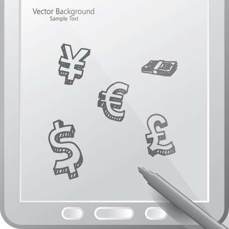 currency in a tablet with stylus