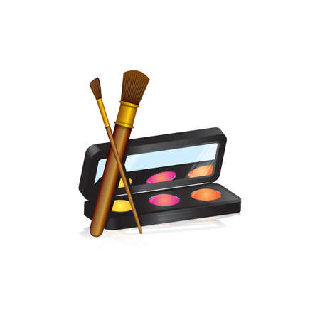 Eye shadow palette and brushes Illustration