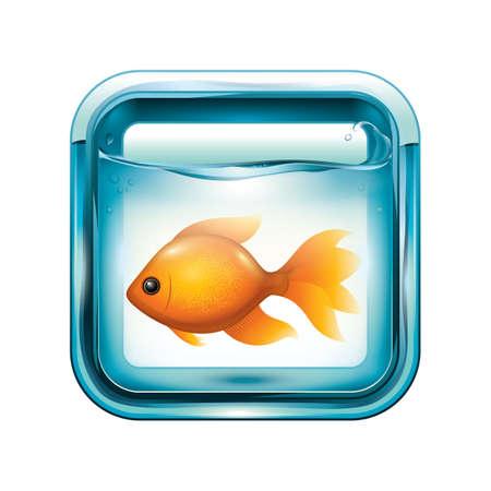 Goudvis in een aquarium Stock Illustratie