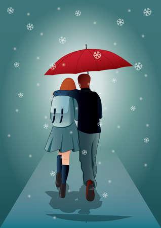 young couple under an umbrella Stock fotó - 106670141