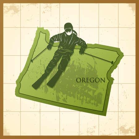 オレゴン州の地図は氷の背景にスケートの男です。