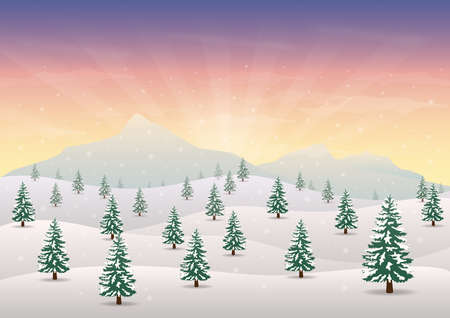 snowy mountains with trees