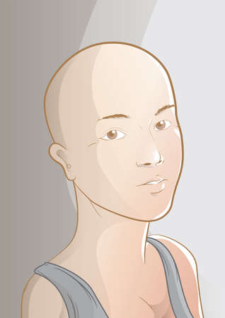 young beautiful bald headed girl Illustration