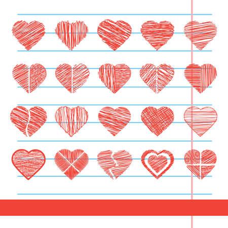 set of heart icons Ilustração