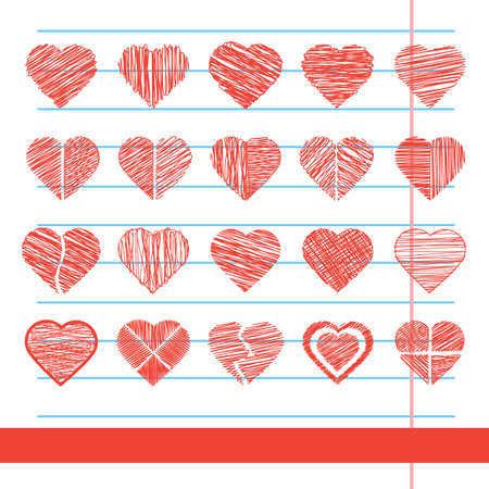 set of heart icons Illustration