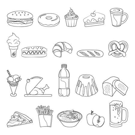 A collection of food items, linear illustration.