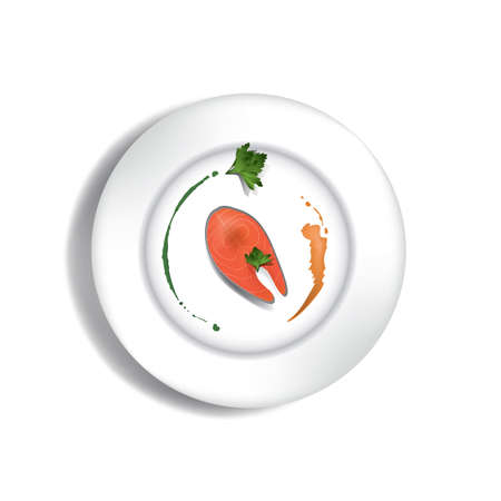 접시에 생선 스테이크 스톡 콘텐츠 - 81486290