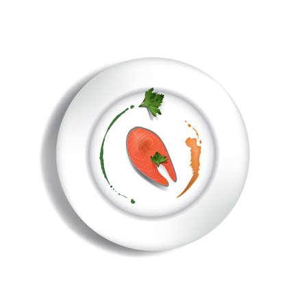Fisch Steak auf einem Teller Standard-Bild - 81486290