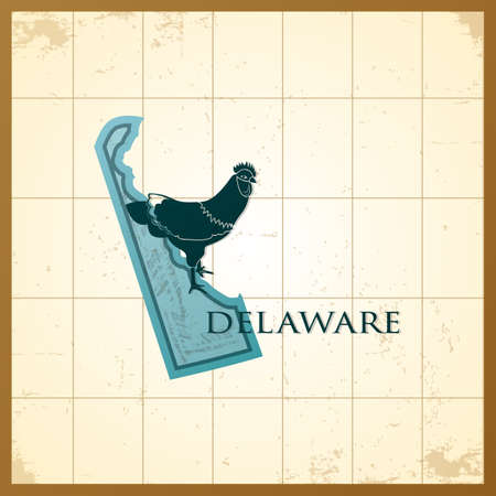 A map of Delaware state. Illustration