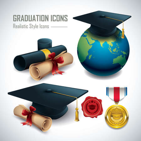 set of graduation icons