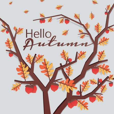 hello autumn card Illustration