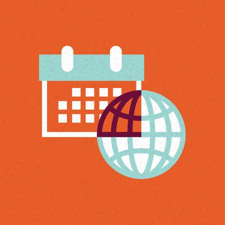 calendar with globe Иллюстрация