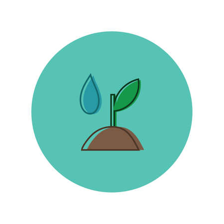 sapling with water drop Stock Illustratie