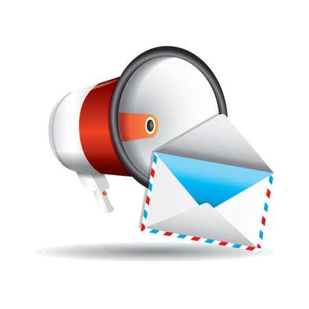 Megaphone and envelope Ilustracja