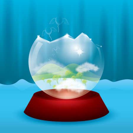 Eine zerbrochene Kristallkugel. Standard-Bild - 81589182
