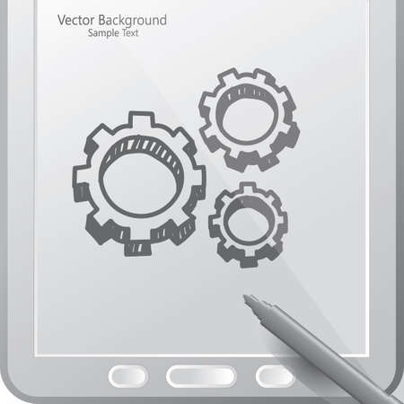 gears in a tablet with stylus