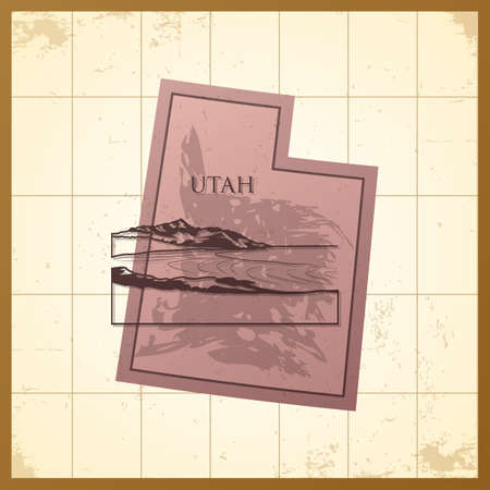 A map of Utah state. Illustration