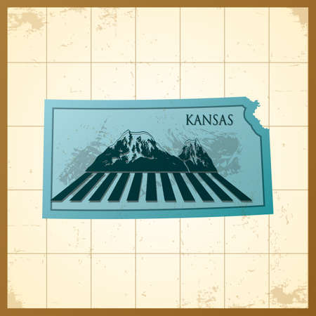 A map of Kansas state. Illustration