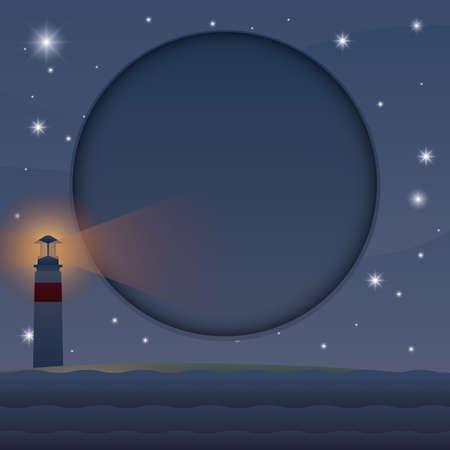 Een nachtmening van kust met vuurtorenillustratie. Stock Illustratie