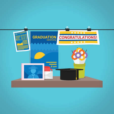 卒業アイコンのセット  イラスト・ベクター素材