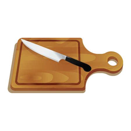 Cuchillo en la tabla de cortar Foto de archivo - 81537060