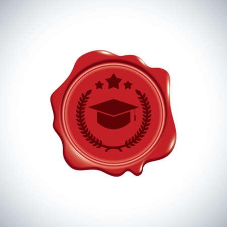A graduate wax stamp. Illustration