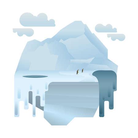 北極のペンギン  イラスト・ベクター素材