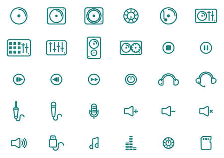 Collection of music icons 向量圖像
