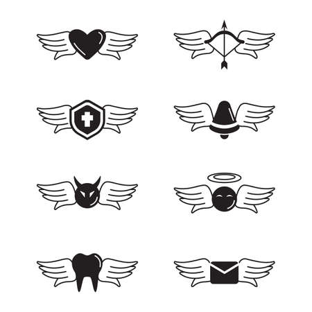 set of angel icon