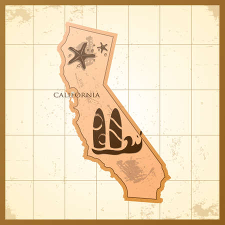 A map of California state. Illustration
