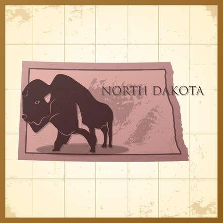 Een kaart van de Staat van Noord-Dakota met bizonstier op een achtergrond.