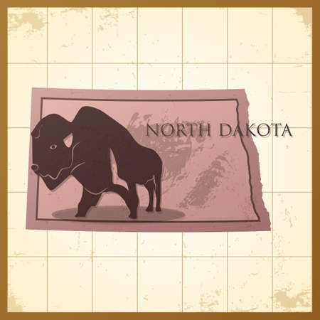 A map of North Dakota state with bison bull on a background.