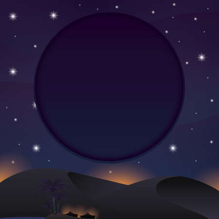 A night view of desert illustration.