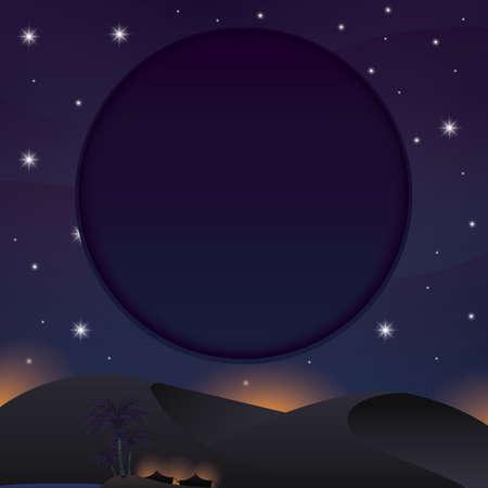A night view of desert illustration.