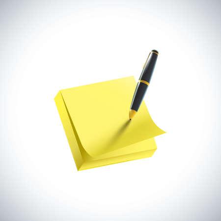 付箋とペン  イラスト・ベクター素材
