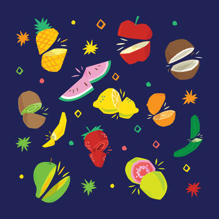 set of fruits Иллюстрация
