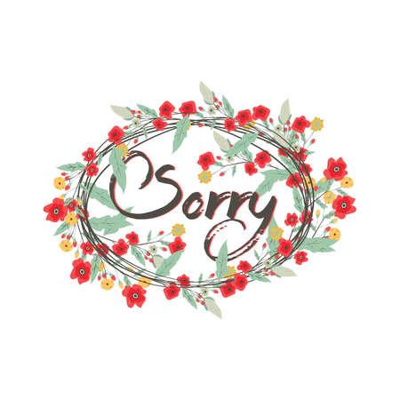 Palavra desculpe com design floral Foto de archivo - 81420136