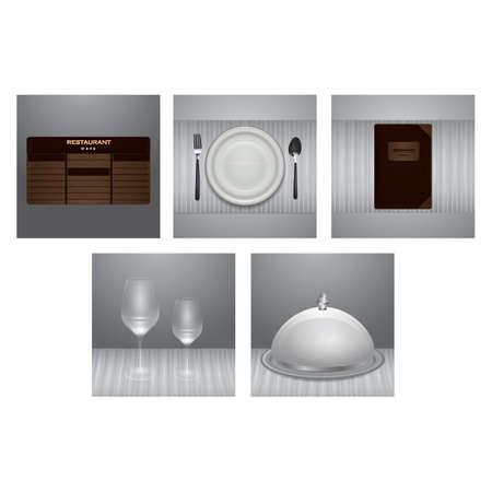 Conjunto de ícones de restaurante Foto de archivo - 81486347