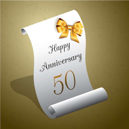 A happy anniversary card on paper scroll design, isolated.