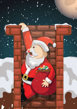 santa in the chimney Ilustracja