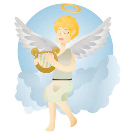 천사 연주 하프