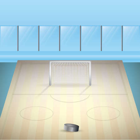 An ice hockey rink illustration.