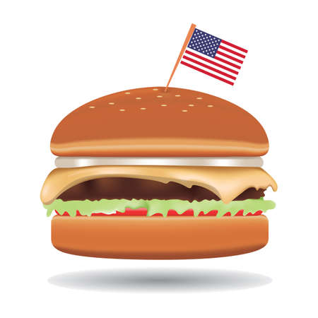 burger with usa flag 向量圖像
