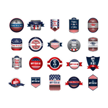 collection of usa independence day labels 向量圖像